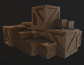 3D model game-ready Wooden Box