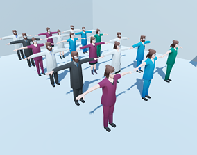 3D model Low poly hospital people with randomisation 1