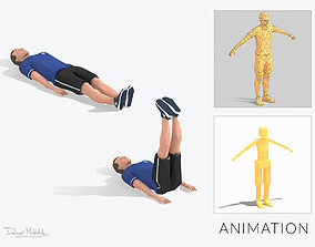Leg Raiser Exercise Man Animation 3D asset