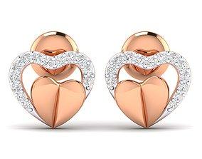 Women Heart Earrings 3dm stl render detail earrings