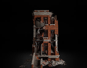 3D asset DESTROYED OLD BUILDING POST APOCALYPSE 004