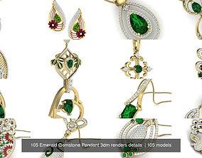 105 Emerald Gemstone Pendant 3dm renders details