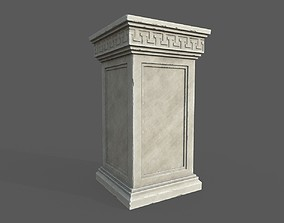 Roman Low Poly Statue Holder Decoration 3D asset