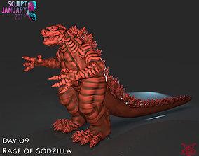 Stylized Godzilla 3D print model