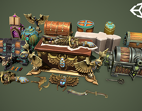 Fantasy chests 3D asset