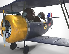 PBR Low poly cartoon WW1 Biplane 3D asset