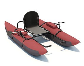 Pontoon Boat Model With Oars