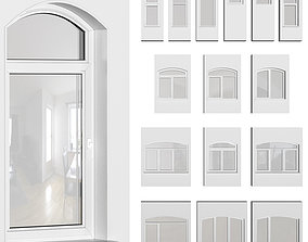 3D Set of plastic arched windows