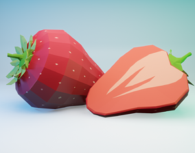 3D asset game-ready Strawberry