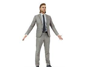 Blonde business man in a grey suit 3D model
