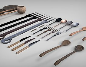 3D model Medieval Cutlery Set