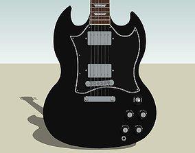 3D model Guitar - Gibson SG - Black Finish