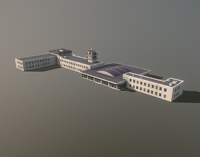 Airport Terminal LKPR Military Terminal Praha 3D model 1