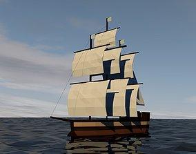 Lowpoly 3D model sail ship VR / AR ready