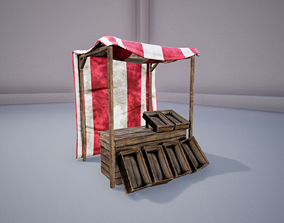 3D model Medieval Wooden Stall