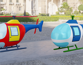 Cartoon Helicopter 3D model vacation
