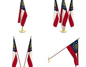 3D Georgia State Flag Pack