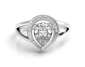 ring cad pear shaped engagement ring diamond jewelry ring