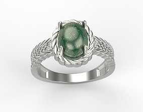 Women ring with cabochon and gems 3dm stl