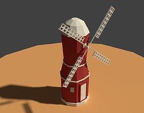 Low Poly Farm Wind Mill 2 3D asset