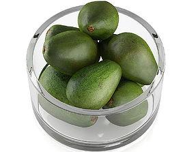 3D Bowl of avocado fruits