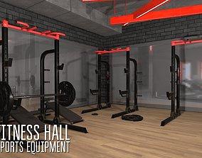 Fitness hall - sports equipment 3D