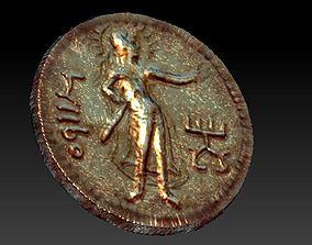 Old golden coin The Kushan king Kanishka for 3d print stl
