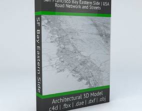 3D San Francisco Bay Eastern Side Road Network and Streets