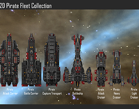 2D Pirate Fleet Collection 3D model