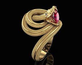 3D printable model Ring Snake with Ruby in Teeth