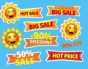 3D model Animated Cartoon Logo Summer Sun Discount