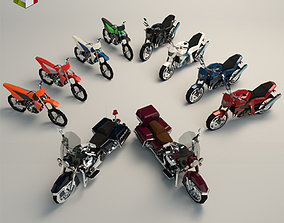 3D model Low Poly Motorcycle Pack 02