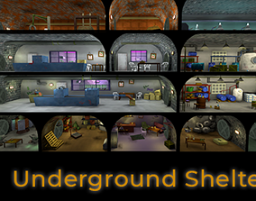realtime Underground Shelter Low Poly Assets
