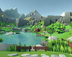 Lowpoly Alpine Woodlands 3D model