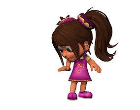 3D model Cartoon rigged girl