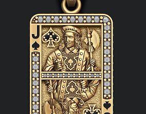3D print model deck Spade Jack playing card pendant