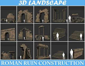 Low poly Ancient Roman Ruin Construction Pack 3D model 4