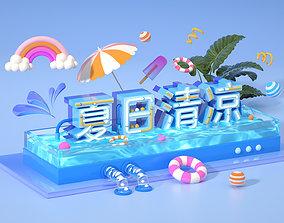 3D model Summer cool title pool beach Hawaii