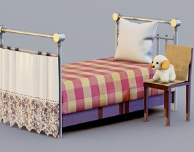 Retro Baby Bed Set 3D model