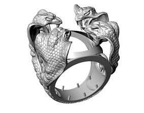 3D printable model Four Snakes Ring