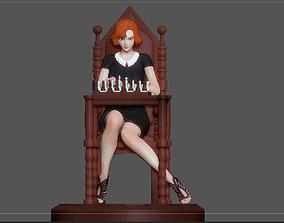 3D print model QUEENS GAMBIT ANYA TAYLOR JOY CHESS GIRL 1