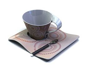 Teacup With A Plate And A Spoon 3D model