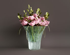 3D Glass vase with flowers