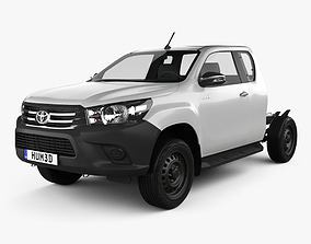 3D Toyota Hilux Extra Cab Chassis 2015