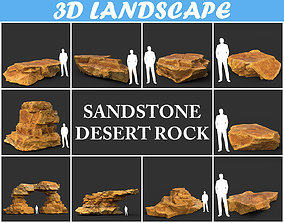 3D asset Low poly Yellow Sandstone Desert Pack 200209