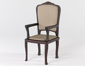 Wooden chair with upholstery 3D