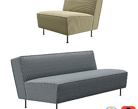 3D model Gubi Fauteuil Modern Line Sofa and Lounge