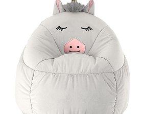 3D Kids Bean Bag Chair White Unicorn - Pillowfort
