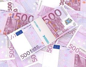 3D model 500 euro banknote packs