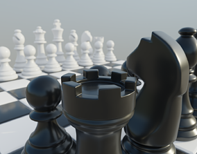 3D model VR / AR ready Classic Chess Set